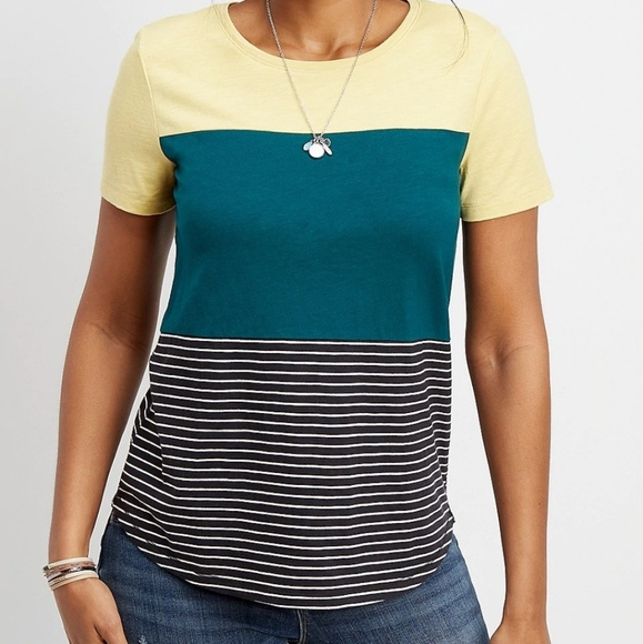 Maurices Tops - Maurices 24/7 Color Block Tee Shirt Yellow Stripe